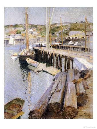 Fish Wharves, Gloucester, 1896 Giclee Print by Willard Leroy Metcalf