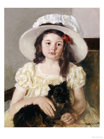 Francoise Holding a Little Black Dog, circa 1908 Premium Giclee Print by Mary Cassatt