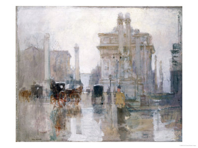 After the Rain, the Dewey Arch, Madison Square Park, New York Premium Giclee Print by Paul Cornoyer