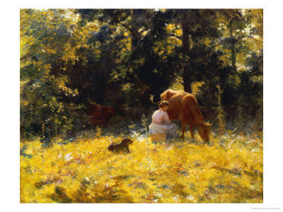Milking Time, 1889 Premium Giclee Print by Charles Courtney Curran