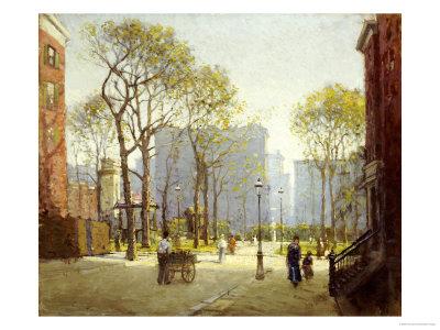 Late Afternoon, Washington Square Premium Giclee Print by Paul Cornoyer