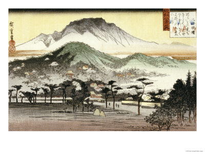 Evening Bell at Mii Temple Premium Giclee Print by Ando Hiroshige
