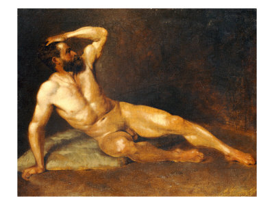 A Reclining Male Nude reproduction procédé giclée