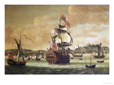 Charles II on Board a Two Decker Man-O-War off Dover Giclee Print by Jacob Knyff Knijff