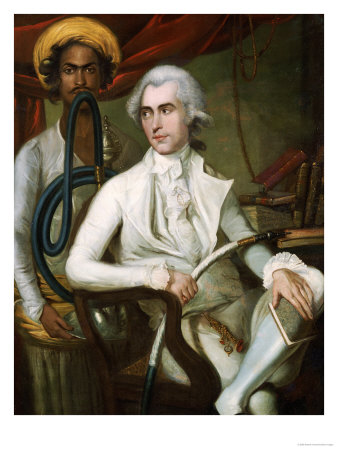 Portrait of a Gentleman, Seated, in White Jacket, Waistcoat and Breeches, Holding a Hookah Premium Giclee Print by Robert Home