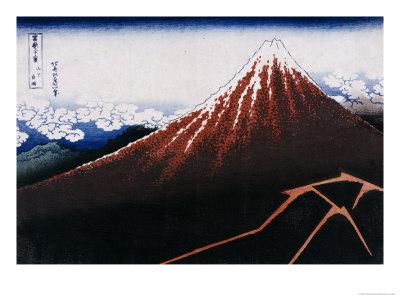 Rainstorm Beneath the Summit (The Black Fuji) Premium Giclee Print by Katsushika Hokusai