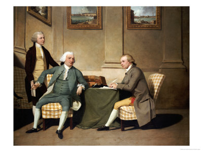 Group Portrait of Sergeant-at-Arms Bonfoy, His Son, and John Clementson Giclee Print by John Hamilton Mortimer