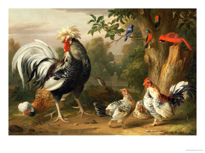 Poultry and Other Birds in the Garden of a Mansion Premium Giclee Print by Jacob Bogdany