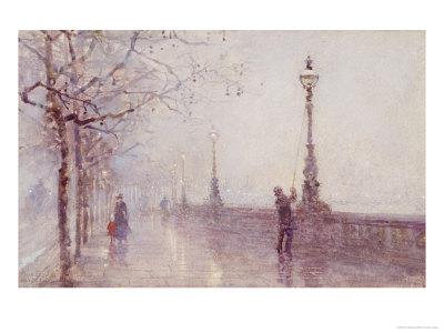 The Last Lamp, Thames Embankment, 1892 Premium Giclee Print by Rose Maynard Barton