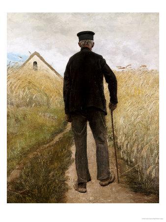 Old Man Walking in a Rye Field Gicléetryck av Laurits Andersen Ring