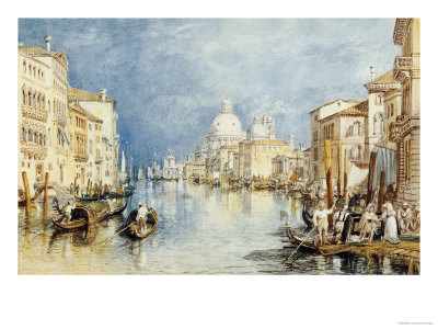 The Grand Canal, Venice, with Gondolas and Figures in the Foreground, circa 1818 Premium Giclee Print by J. M. W. Turner