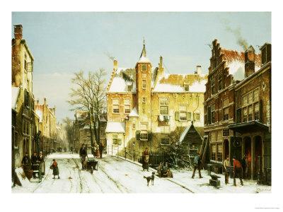 A Dutch Village in Winter Premium Giclee Print by Willem Koekkoek