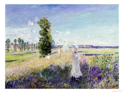 La Promenade (Argenteuil), 1875 Premium Giclee Print by Claude Monet