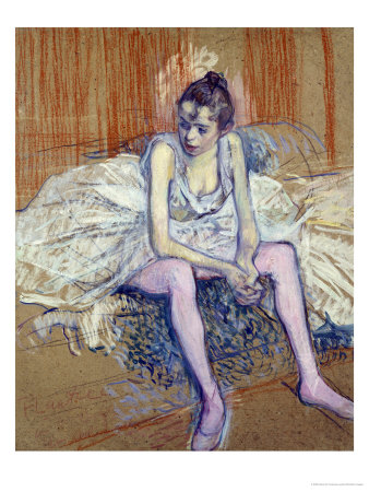 A Seated Dancer with Pink Stockings, 1890 Premium Giclee Print by Henri de Toulouse-Lautrec