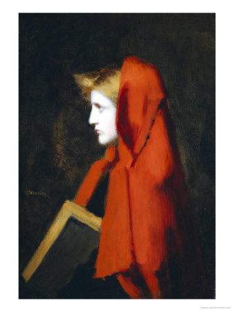 A Woman in Profile Holding a Book Giclee Print by Jean Jacques Henner