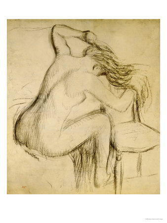 A Seated Woman Styling Her Hair Premium Giclee Print by Edgar Degas