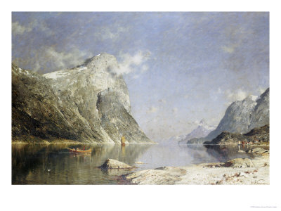 A Fjord Scene Premium Giclee Print by Adelsteen Normann
