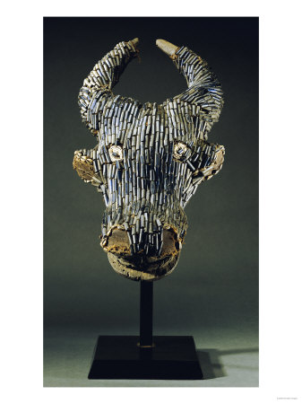 Grassfields Cameroon Visor Mask in the Form of a Water Buffalo with Broad Curved Horns Premium Giclee Print