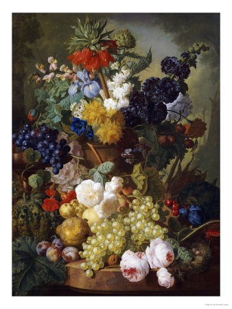 A Still Life of Flowers and Fruit Premium Giclee Print by Jan van Os