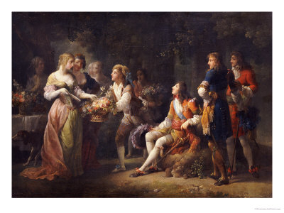 Louis XIV of France Declaring His Love for Louise de la Valliere Premium Giclee Print by Jean-frederic Schall