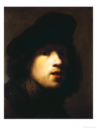 Portrait of the Artist, Head and Shoulders, in a Black Beret and a Gorget Premium Giclee Print by  Rembrandt van Rijn