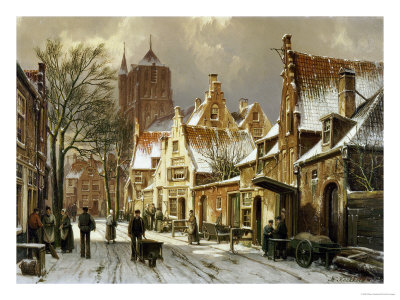 A Winter Street Scene Premium Giclee Print by Willem Koekkoek