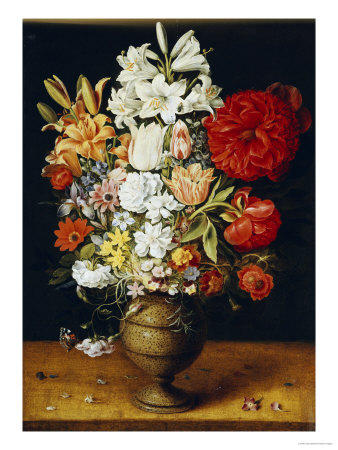 Lilies, Peonies, Tulips, Roses, Anemones and Other Flowers Premium Giclee Print by Osias Beert
