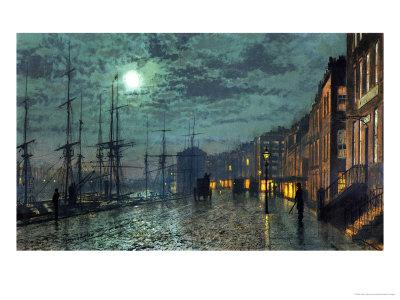 City Docks by Moonlight Premium Giclee Print by John Atkinson Grimshaw