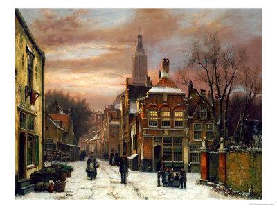 A Wintery Scene: a Dutch Street with Numerous Figures Premium Giclee Print by Willem Koekkoek