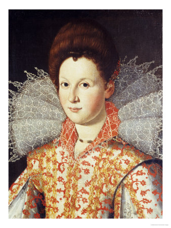 Portrait of a Lady, Bust Length, Wearing an Embroidered Dress with Lace Ruff Collar Premium Giclee Print by Santi Di Tito