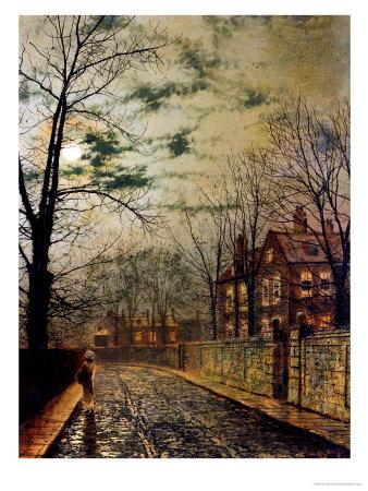 A Moonlit Road Premium Giclee Print by John Atkinson Grimshaw