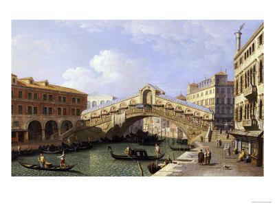 The Rialto Bridge Venice from the South with the Fondamenta Del Vin and the Fondaco Dei Tedeschi Premium Giclee Print by  Canaletto