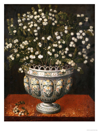 Myrtle in a Lobed-Footed Polychrome Maiolica Manises Vase on a Draped Ledge, 1663 Premium Giclee Print by Tomas Hiepes