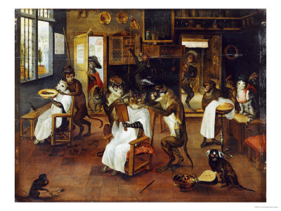 A Singerie: Monkey Barbers Serving Cats Giclée-Druck von Jan Van Kessel