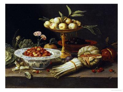 """Wild Strawberries and Two Pinks in a """"Wanli Kraak Porselein"""" Bowl Premium Giclee Print by Jan Van Kessel"""