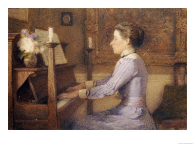 At the Piano Giclee Print by H.e. Jones