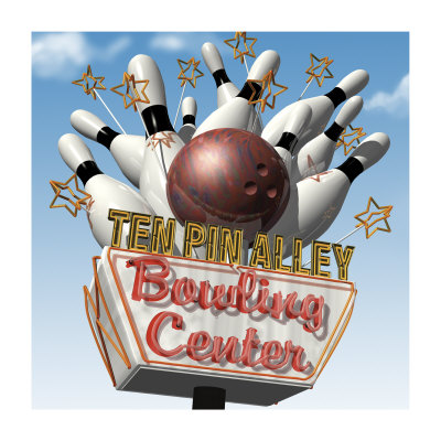 Ten Pin Alley Bowling Center Print by Anthony Ross