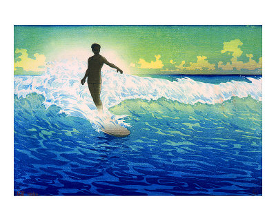 Hawaiian Surfer Sunrise Giclee Print