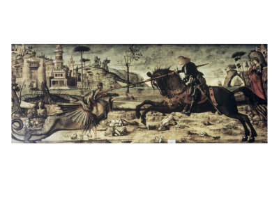 St. George Killing the Dragon Giclée-tryk af Vittore Carpaccio