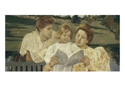 Family Group Reading Giclee Print by Mary Cassatt