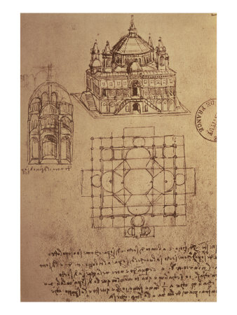 Sketch of a Square Church with Central Dome and Minaret Giclee Print by  Leonardo da Vinci