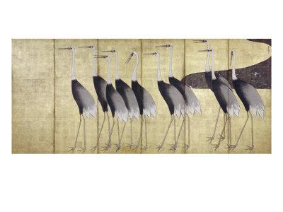 Cranes, Japanese Edo Screen Painting Giclee Print by Ogata Korin
