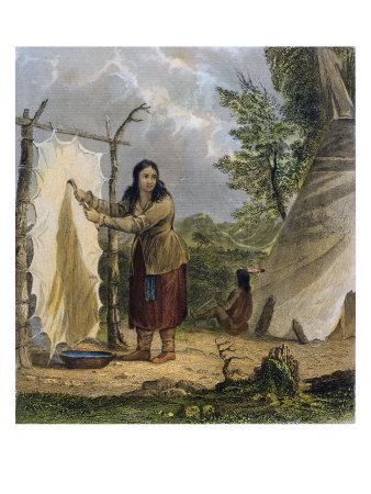 Indian Woman Dressing a Buffalo Skin Giclee Print