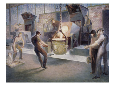 Tapping Induction Furnace Giclee Print by Edmund M. Ashe