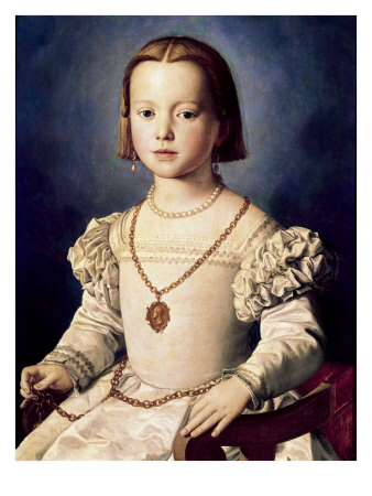 The Illegitimate Daughter of Cosimo I de Bia Premium Giclée-tryk af Agnolo Bronzino
