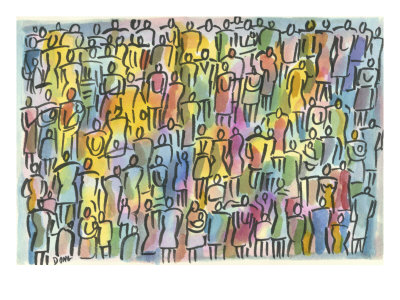 Crowd in Color Giclée-tryk