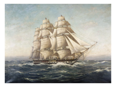 Uss Constitution Giclee Print by Myron Clark