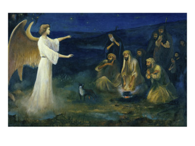 Angel Announcing the Birth of Christ to Shepherds Giclee Print by Robert Leinweber