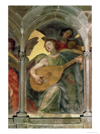 Musical Angel Within a Trompe L'Oeil Cloister, Detail of an Angel Playing a Mandolin Giclee Print by Santi Di Tito
