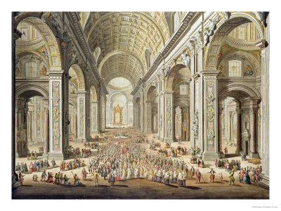 A Procession in St. Peter's, Rome Premium Giclee Print by Giuseppe Vasi